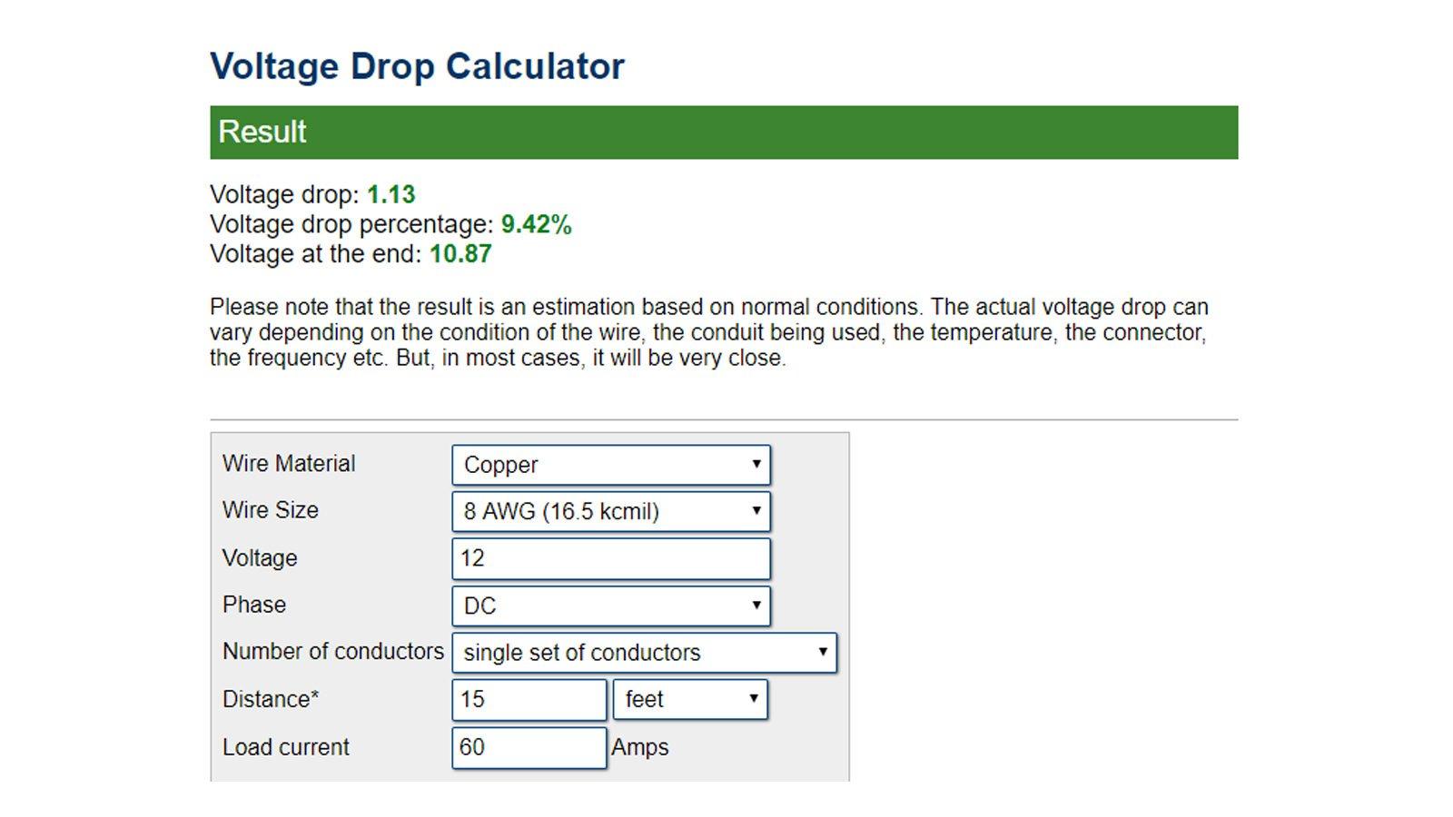 12VDC Voltage Drop / 15 Feet / 8 AWG