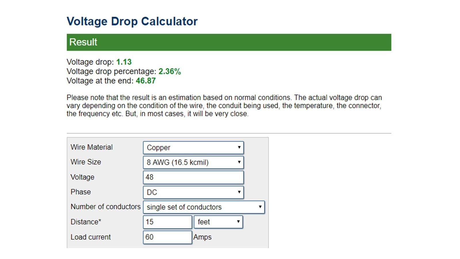 48VDC Voltage Drop / 15 Feet / 8 AWG