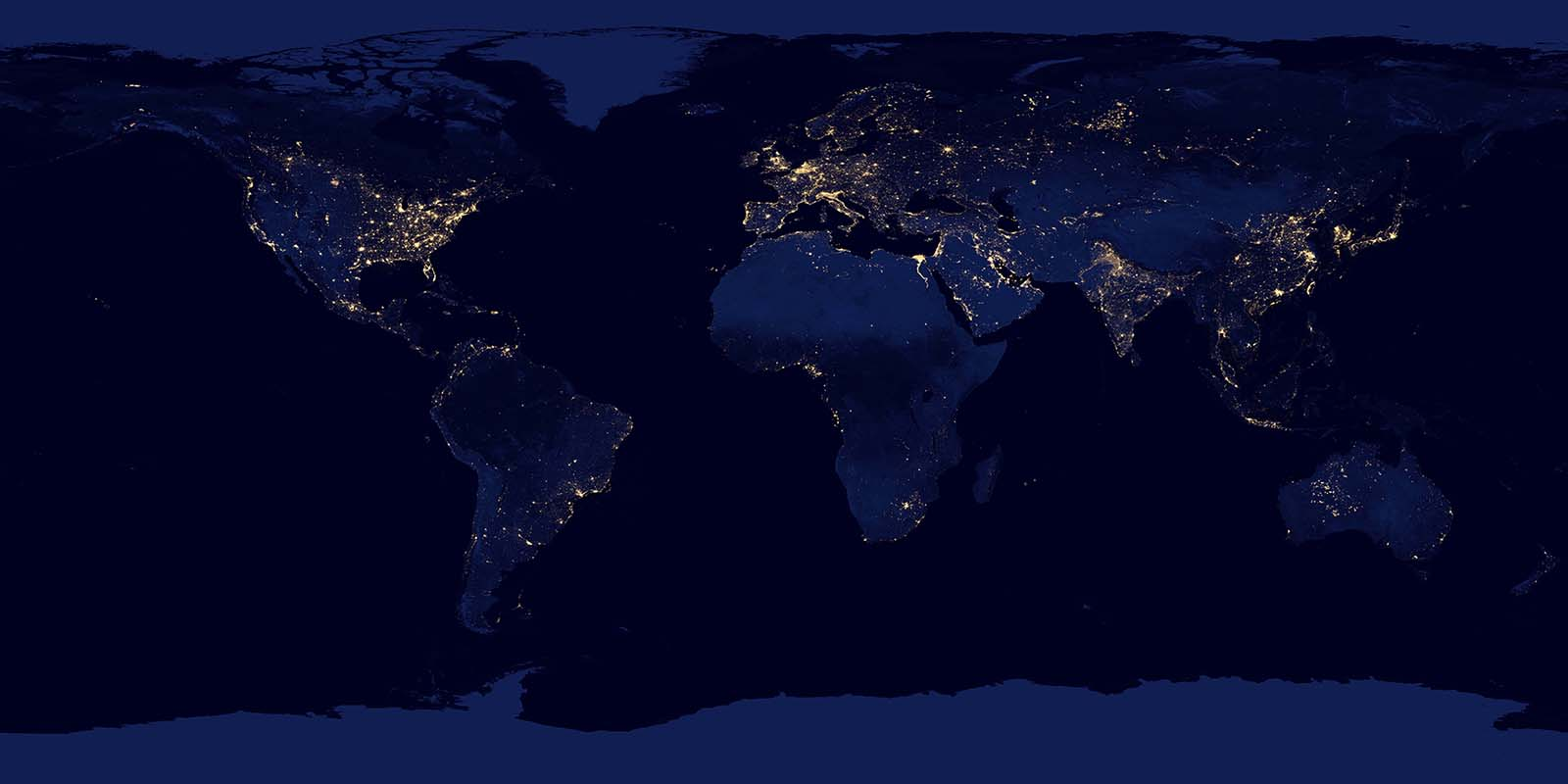 The African continent is sparsely lit in a map of the NASA  earth at Night.