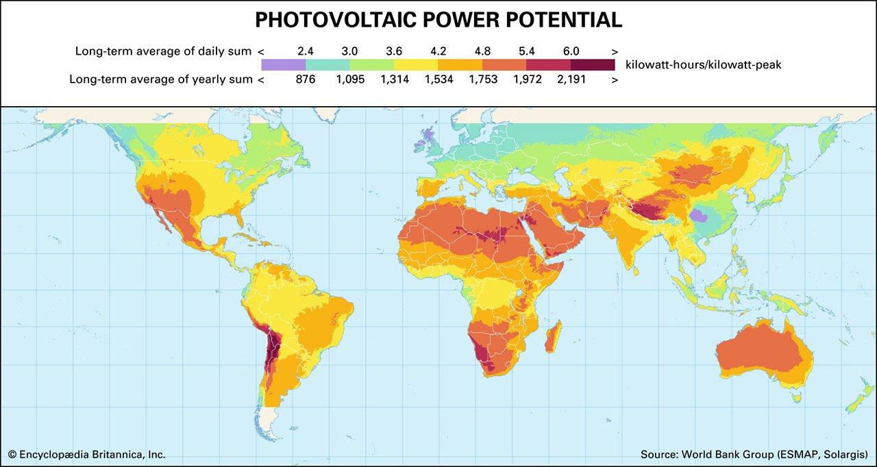 Solar Irradiance Map Worldwide